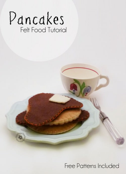 Felt Food Pancakes Tutorial with Free Pattern {Easy Beginner Project} OneCreativeMommy.com