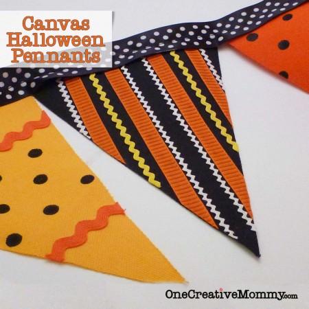 Canvas Halloween Pennants Tutorial