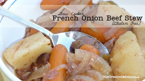 Slow Cooker French Onion Beef Stew (GF) The secret ingredient is V8 juice!