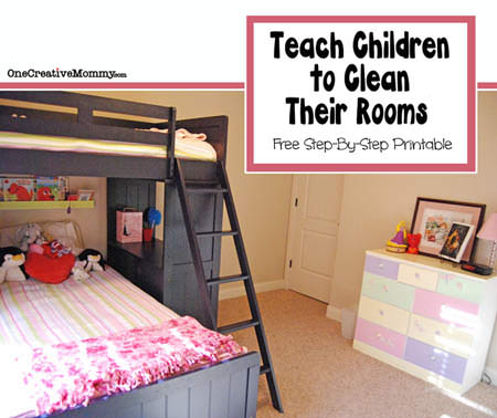How to Teach Children to Clean Their Rooms {OneCreativeMommy.com} Tired of nagging kids to clean their rooms? Your kids might be overwhelmed and not know where to start. (Free Printable Reminder Cards)
