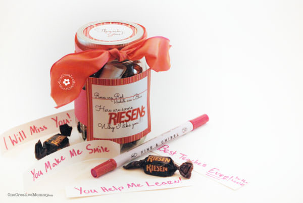 Riesens Candy Teacher Gift Idea and Printable {Roses are Red, Violets Are Blue, Here are some Riesens why I like you!} from OneCreativeMommy.com