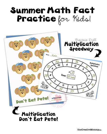 Summer Math Fact Practice Ideas for Kids {Multiplication} from OneCreativeMommy.com