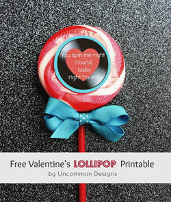 Lollipop Valentines from Uncommon Designs {Check out the Valentine Roundup on OneCreativeMommy.com}