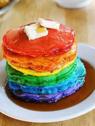 Rainbow Pancakes from i am baker