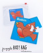 Perfect for church or the doctor's office, this puzzle busy bag is great for preschoolers and up. {OneCreativeMommy.com}
