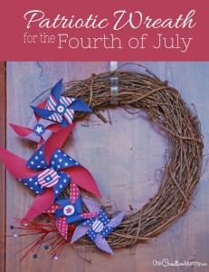 Fast and Frugal Patriotic Wreath for the Fourth of July {OneCreativeMommy.com} Download printable pinwheels, too!