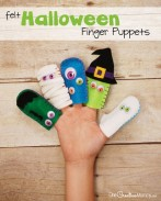 Fun Felt Halloween Finger Puppets! A cool craft to make with your kids. {OneCreativeMommy.com} Free template and lots of pictures and ideas